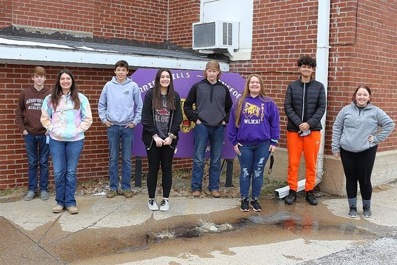The Carrier Mills-Stonefort High School Purple Pride Award Winners for the month of February are, from left, Ty Sumner, Brianna Cullers, Easton Dalton, Kayley Milligan, Cayden Schapmire, Mackensie Avery, Gavin Childers and Sam Morris.