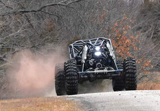 Jedd Harper stirs some dust demonstrating his rock bouncer at Williams Hill Pass.