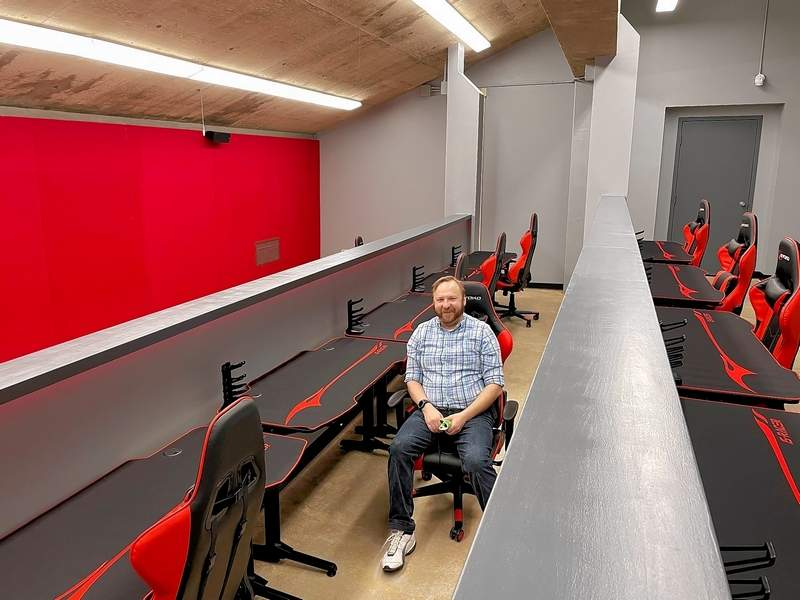 Esports Head Coach Jason Fitzgerald shows off the new esports gaming arena in progress at SIC.