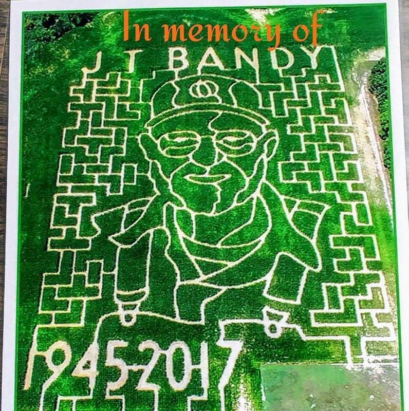 The 10-acre corn maze that changes each year, this one honoring late owner/founder J.T. Bandy, is one of several activities at Bandy's Pumpkin Patch.