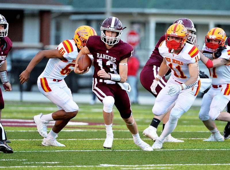 Benton junior quarterback Keegan Glover combined for three touchdowns, including a second half TD throw becoming the Rangers' all-time passing leader with his 37th passing TD in his career.