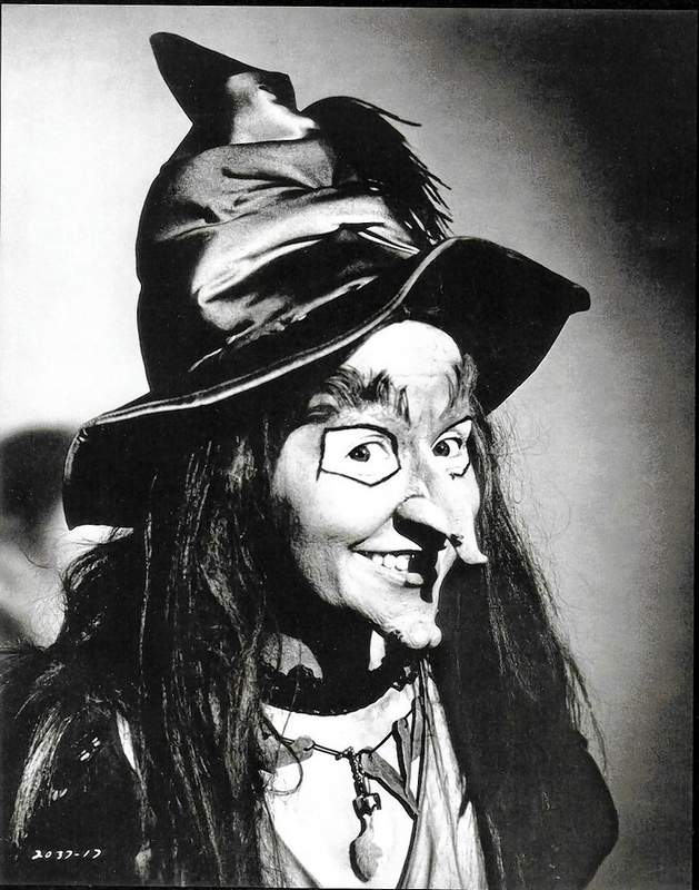 """Billie Hayes, as the Wilhelmina W. Witchiepoo character she made famous on H.R. Pufnstuf. Witchiepoo """"flew"""" on a jet-propelled broom that really ran back and forth on tracks, while the scenery moved behind it to give the illusion of flight."""