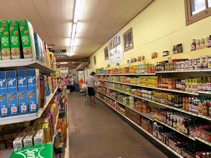 Neat and orderly shelves of groceries are available at Small's Grocery in Marion.