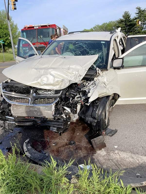 The wrecked vehicle of six teens traveling to dinner prior to Harrisburg High School's prom on May 1.