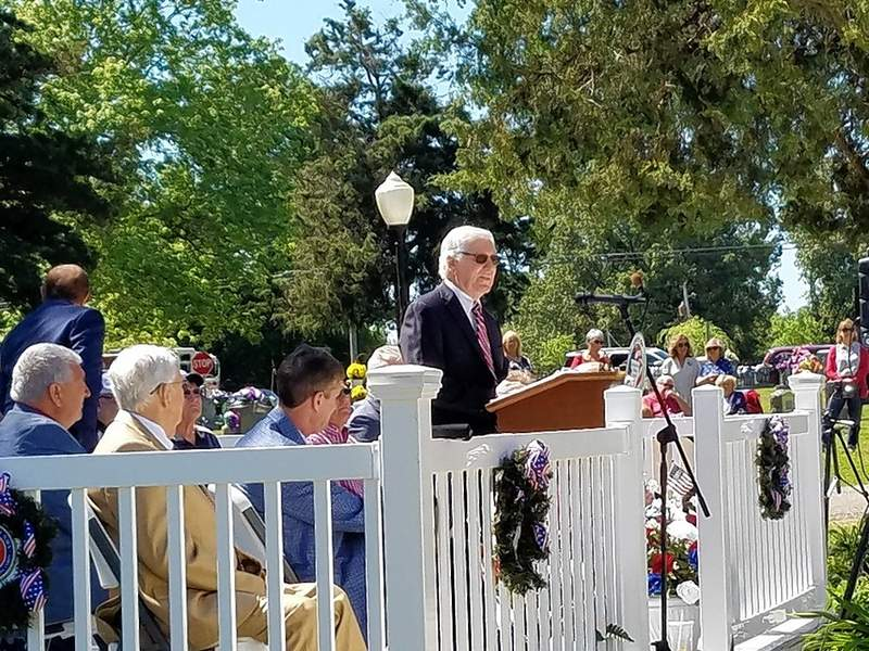 Keynote speaker Glenn Poshard champions the preservation of American freedoms and rights during Harrisburg's Memorial Day ceremony Monday.