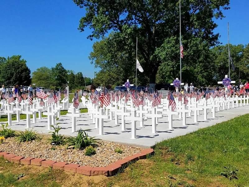 "The Harrisburg Veterans Memorial ""Little Arlington"" area displays American flags."
