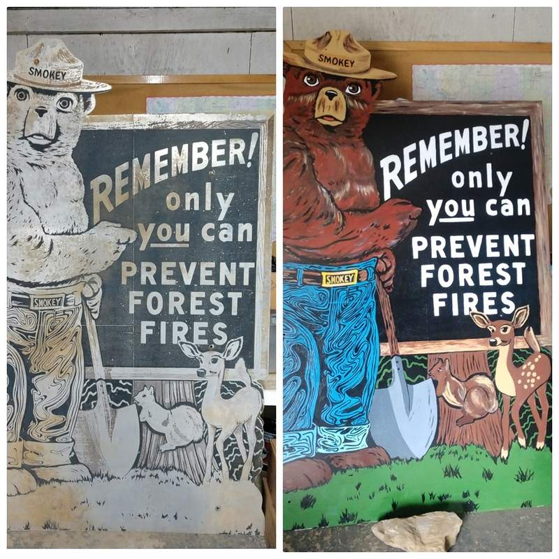 """A """"before-and-after"""" look at the Smokey Bear sign."""