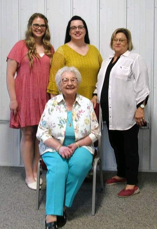 Four generations of DAR members include Michael Hillegas DAR member Shelia Albright, far right, and, from left, her granddaughter Shelia Joy Stone; daughter, Deborah Joy Albright-Stone; and, seated, Betty Albright, a member of the Old Goshen Trail Chapter.