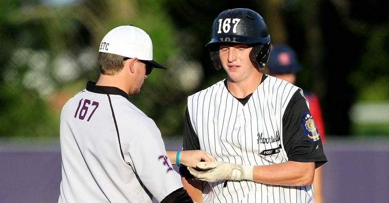 Krayton Morse is congratulated by Cody Hall after hitting a solo home run in the fourth inning.
