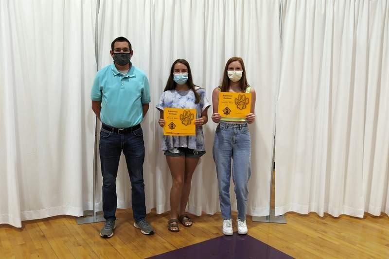 Mr. Eisenhauer, Kaylee Horn and Layna Odum Science Award winners.