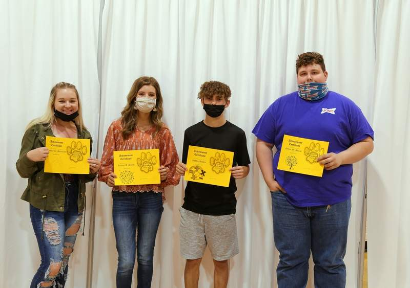 Cydney Maxfield, Kaylee Smith, Robbie Hadley, and Ethan Morse Math Award Winners.