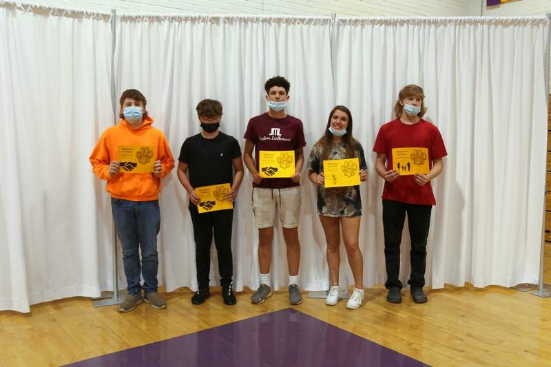 Colton Rice, Cody Wilson, Nathan Collins, Hallee Lane, and Cayden Schapmire the Reading Skills Award winners.