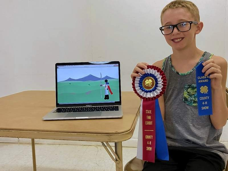Cooper Givens with his video animation project.
