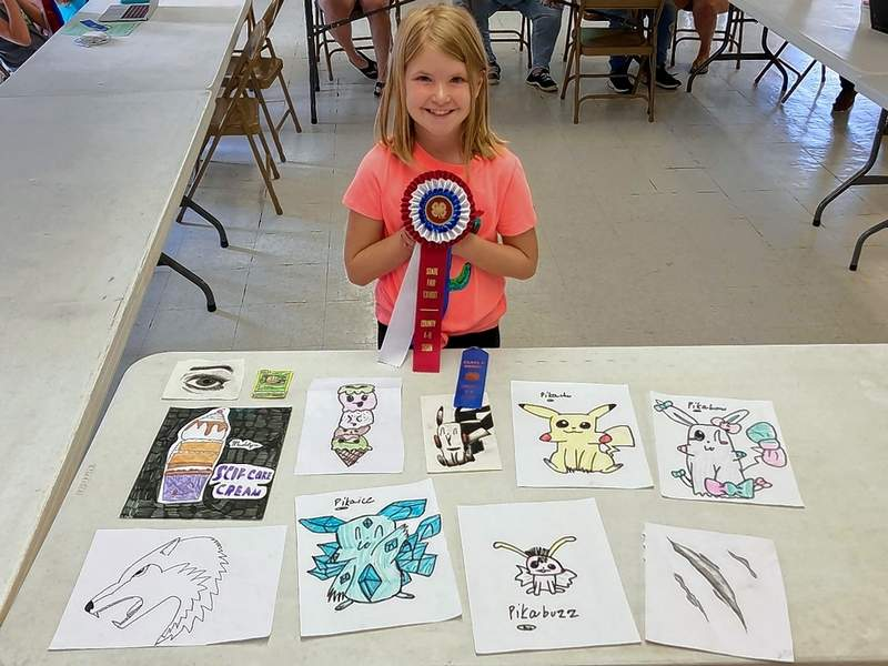 Madelyn Green with her visual arts project.
