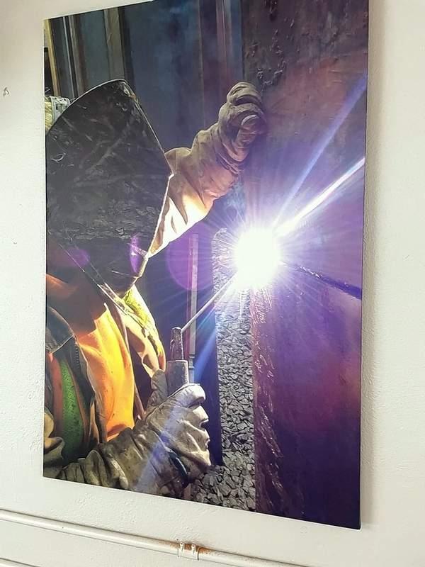 Karissa Irlbeck welding on a job that featured an all-women piling crew.