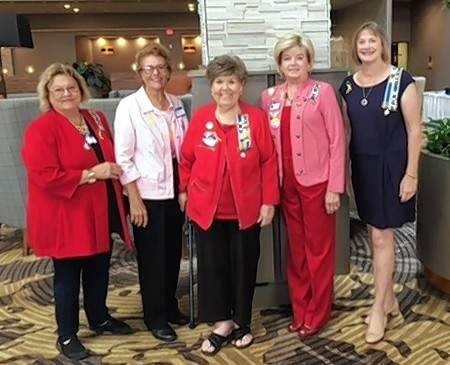 From left, Shelia Albright, Joy Richey, Sharon Tanner, Kathy Morris and Charlotte Mathis at the Mt. Vernon Doubletree Inn.