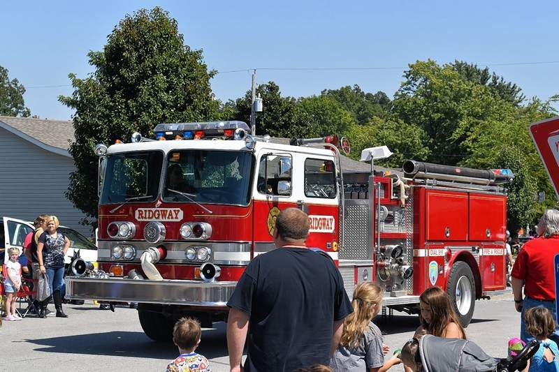 The Ridgway Fire Department in the 2019 Popcorn Days parade.