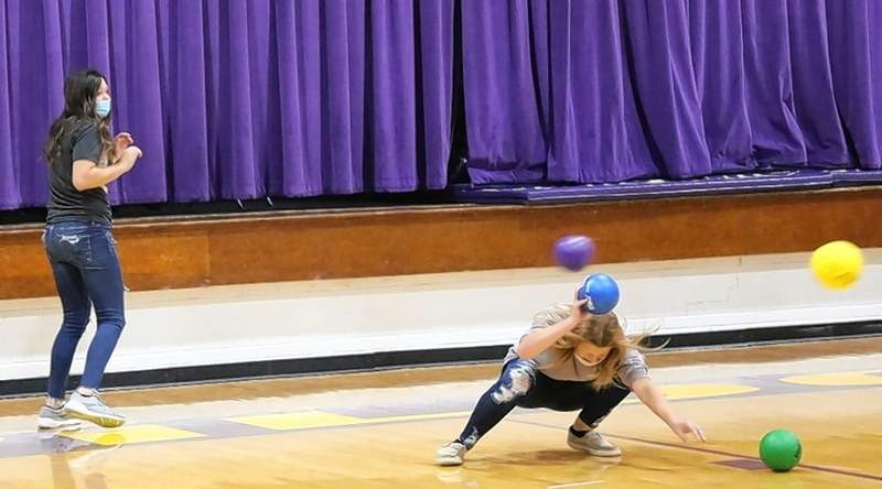 Freshman Cadence Boaz learns to dodge, dip, duck, dive, and dodge in the Championship game.