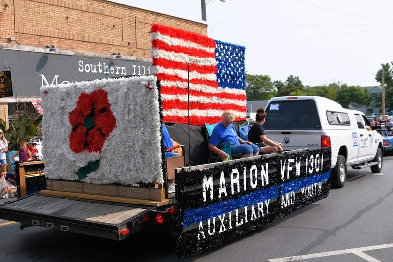 The Marion VFW 1301 Auxiliary and Youth created this float for the Veterans on Parade.