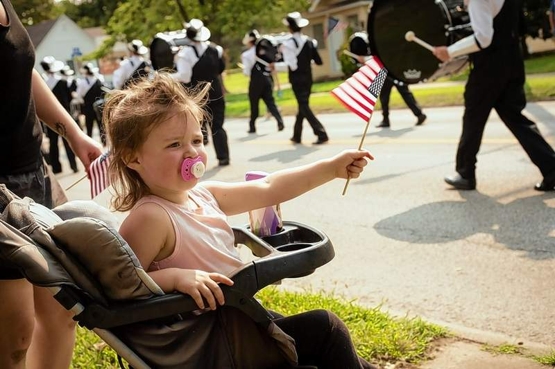 Liliana Hance of Marion showed her patriotism during the parade Saturday.