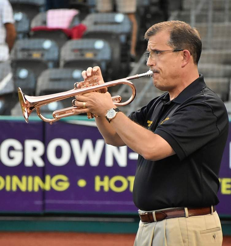 Marion Mayor Mike Absher performed the national anthem on trumpet for Marion Community Day at Rent One Park last week.