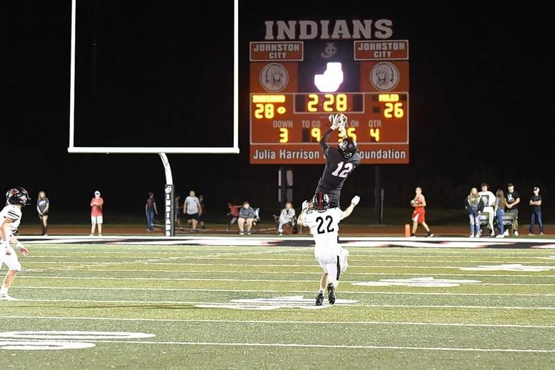 Keaton Fort takes to the air to haul this pass.