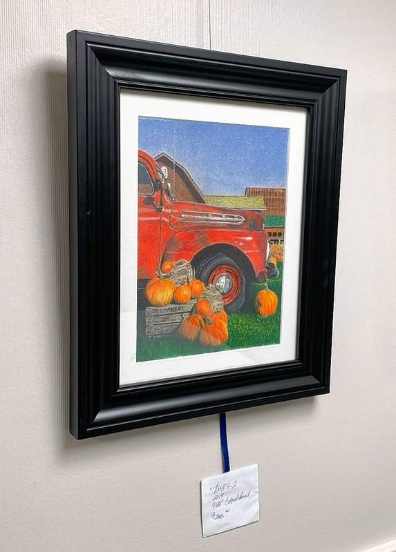 The old Ford truck on the farm in fall was done in 2019, in colored pencil.