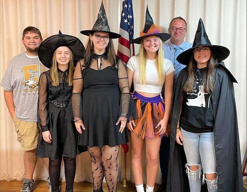 From left are EHS Principal Cody Cusic, Tori Phelps, Sarah McSparin, Lilly Mosby, Rotary President and Eldorado Superintendent Ryan Hobbs, and Alexa Haenel.