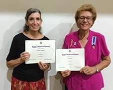 Sally Wofford, left, and Joy Richey. Certificates will be mailed to members who were not present.