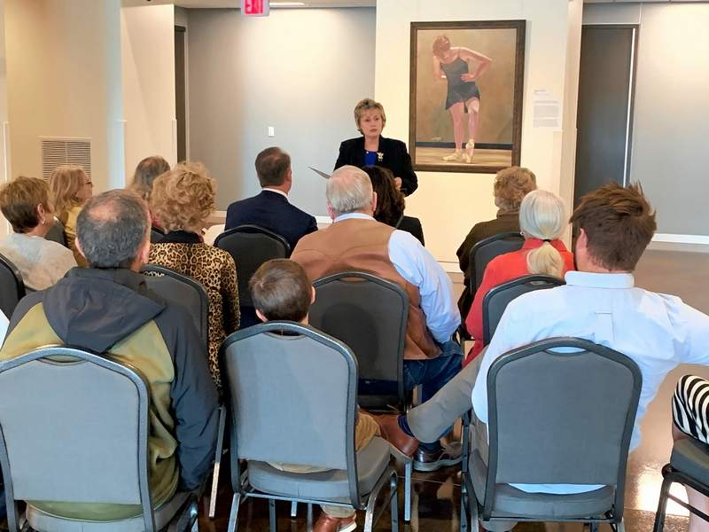 """Artist Barb Allen of Carterville speaks at the first """"Sunday Afternoon at the Museum"""" held at the Ella Elizabeth Hise Museum of Regional Art located at Southeastern Illinois College Sunday, Nov. 3."""